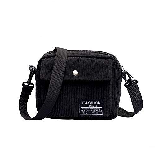 Shoulder Bag for Women Casual Canvas Square Corduroy Single Messenger Bag,Rakkiss Black