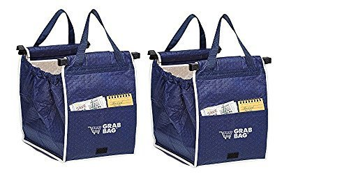 Set of 2 Insulated Grab Bag Grabbag Reusable Grocery Bag