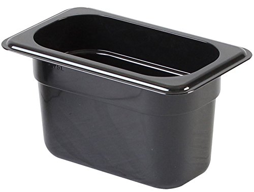 Thunder Group PLPA8124BK, 4-Inch Half Size Food Pan, Commercial Black Polycarbonate Steaming Insert Pan for Steam Table