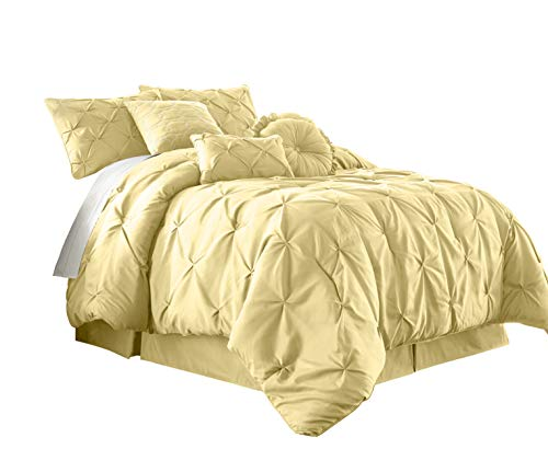 Chezmoi Collection Sydney 7-Piece Pintuck Bedding Comforter Set (Full, Yellow) (Light Comforter Yellow)