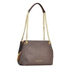 """Imported Signature MK PVC Coated Canvas and 11"""" Double handles chain with Leather Top snap closure on 2 sides as well as a center Zip closure compartment. Interior features 3 compartments with 1 slip pocket in front compartment, 1 zip pocket ..."""