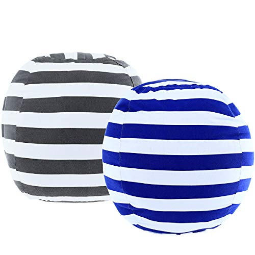 """DeElf 2 Pack Stuffed Animal Storage Bean Bag Cover 23"""" for Kids Room DIY Bean Bag Chair Covers Only White Grey Blue Strips"""