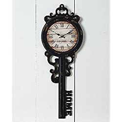 The Lakeside Collection Home Key Wall Clock with Distressed Finish and Roman Numerals