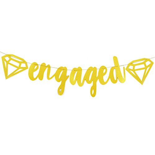 Engaged Gold Glitter Banner with Diamond - Wedding, Bridal, Engagement Party Decoration Supplies - 5.25 Feet in Length (Engagement Party Decoration Ideas)
