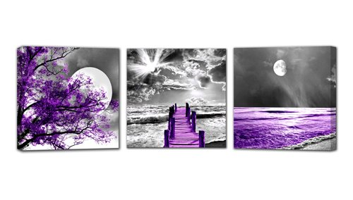 HUADAOART Landscape Moon Canvas Prints Purple Landscape Canvas Printings Wall Art for Home Decor Perfect 3 Panels Wall Decorations Size:12X12inches -