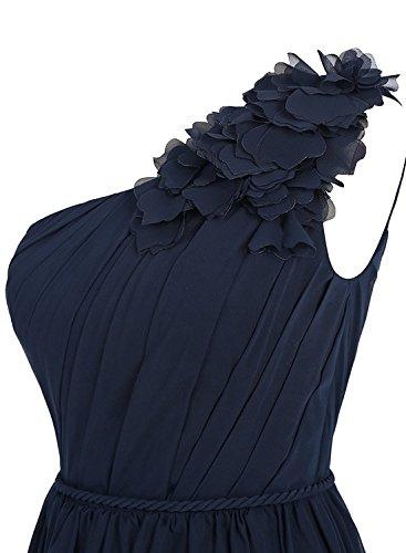 Anlin Floral Robe De Mousseline De Soie Robe De Bal De Demoiselle D'honneur D'une Épaule Avec La Ligne De Taille An96 Blush