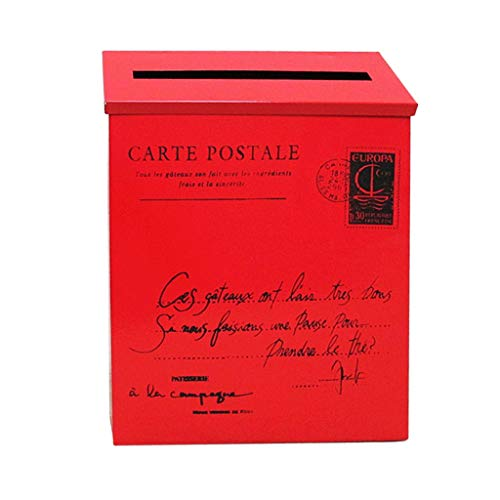 Flameer Villa Wall Mounted Letter Post Box Postbox Letterbox Mailbox Magazines Holder Box - Home Office Used - Red