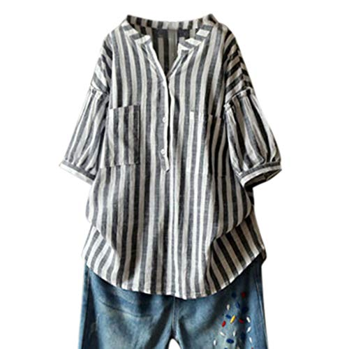 Onefa Women Casual Cotton Linen Loose Short Sleeve Striped T-Shirt Blouse Top Loose Top Suitable for All Outdoor Activites Comfortable Wear Traveling Hiking ()