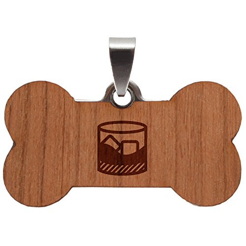 Wooden Accessories Co Whiskey Stainless Steel and Cherry Wood Dog Tag - Pet Pendant with Laser Engraved Design - Dog Id Tags Gift
