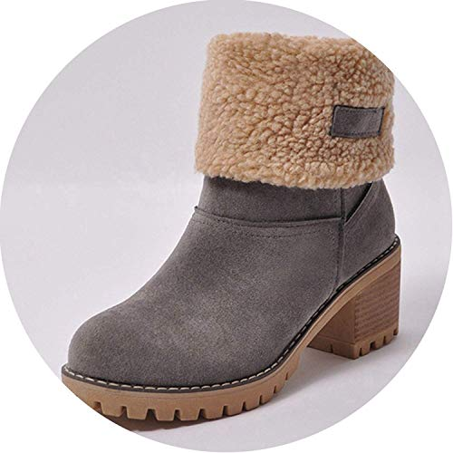 d7107846213e FS65a32zxc High end Women Boots Female Winter Shoes Woman Fur Warm Snow  Boots Square Heels Ankle