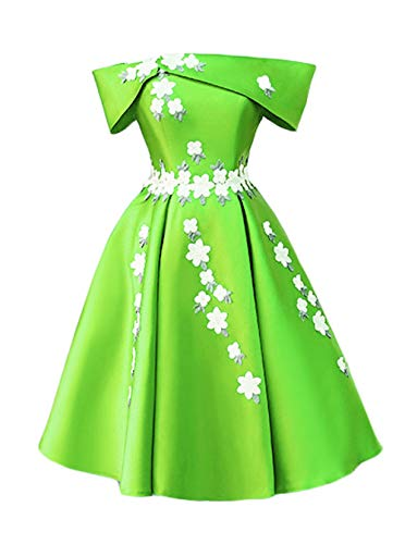 Green Prom grass 2018 Off for The Women Short Floral Shoulder Dresses Gowns Homecoming Satin A DKBridal wTSZRqxHx