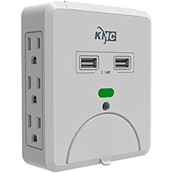 KMC 6-Outlet Wall Mount Surge Protector with 2 USB Charging Ports (2.1 AMP )