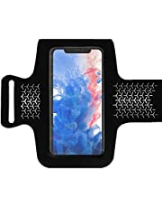 Sweat Resistant Cell Phone Armband Case for iPhone 11, 11 Pro Max, Xs Max, Xr, 8 Plus, Galaxy S10 Plus, S9 Plus and More. Adjustable Lightweight for Running, Workout, Sports, Biking, Walking, Hiking