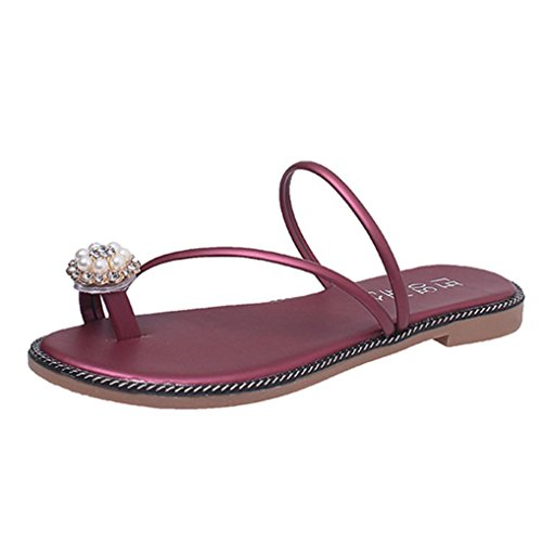 Winwintom Las mujeres verano Rhinestone zapatos peep toe zapatos bajos de sandalias romanas señoras flip flops Rojo