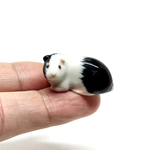 SSJSHOP Guinea Pig Micro Tiny Figurines Hand Painted Ceramic Animals Collectible Gift Home Decor, White Black