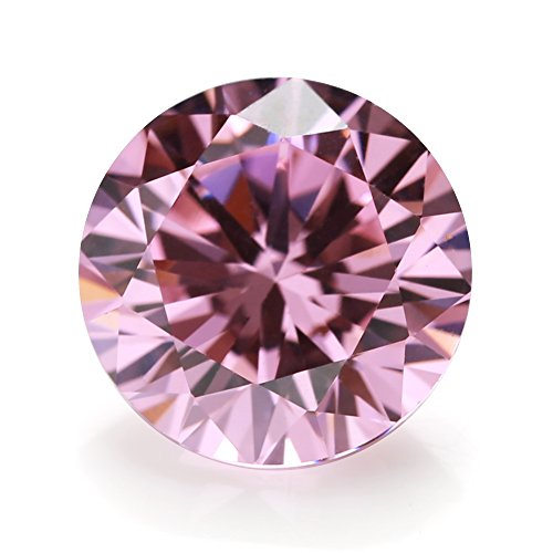 100pcs Size 5.0mm 5A Round Machine Cut Pink Color Cubic Zirconia Stone Loose CZ Stones (5.0mm 100pcs)
