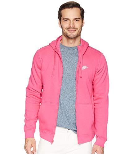 NIKE Mens Sportswear Full Zip Club Hooded Sweatshirt Watermelon/White 804389-674 Size Medium