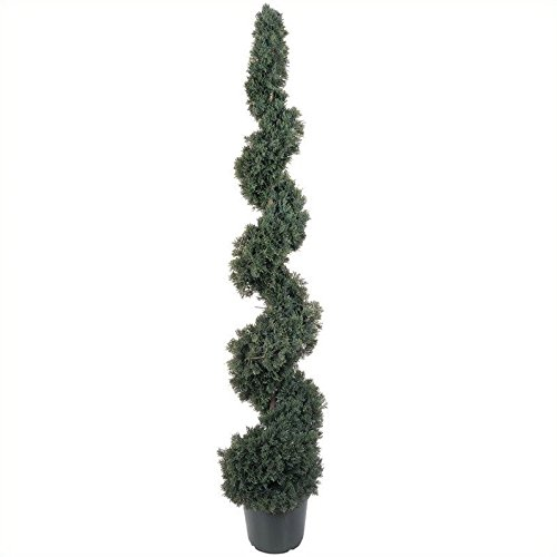 Nearly Natural 5' Cedar Spiral Silk Tree in Green by Nearly Natural