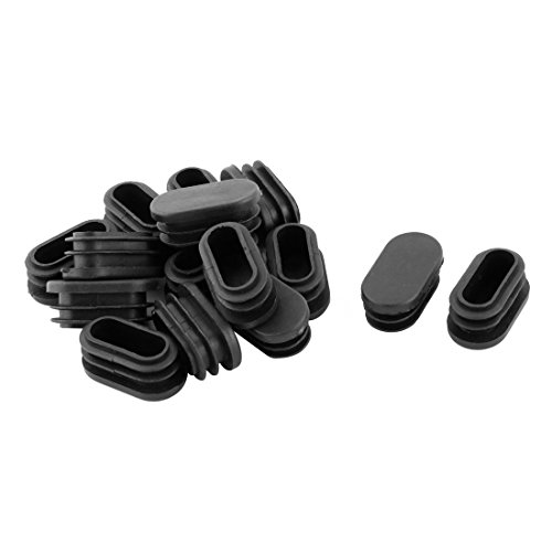 uxcell Plastic Office School Oval Chair Leg Foot Cover Tube Insert 39 x 19mm 15 Pcs Black