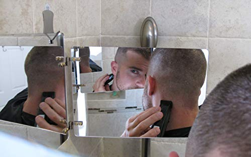 GAT Trifold Mirror - 3 way mirror used for Self Hair Cutting, Fogless Shaving in the Shower, Makeup, Hair styling and Coloring. The perfect travel mirror. G.A.T. -''Go Anywhere Tri fold'' by Viribus. by Viribus (Image #4)