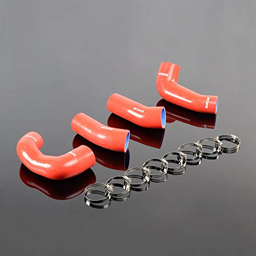 (Red Fit For PORSCHE 911 997 Turbo Silicone Radiator Boost Pipe Hose Clamps Kit 4pcs)
