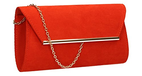Sabrina Suede Look Womens Party Prom Wedding Night Out Celebrity Ladies Envelope Clutch Bag ()