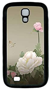 Galaxy S4 Case, Personalized Protective Soft Rubber TPU Black Edge Peony Case Cover for Samsung Galaxy S4 I9500