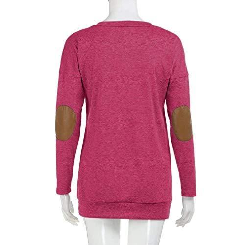 Rose Chemisiers Tops Longues Rond lgant Uni Loisir Jeune Pulli Blouse Patchwork Longue Mode Chemisier Manches Costume Manche Col Printemps Chic Automne Femme Rqvzw61