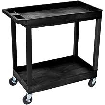 """Luxor 32"""" x 18"""" Tub Storage Cart 2 Shelves - Black, (EC11-B)"""
