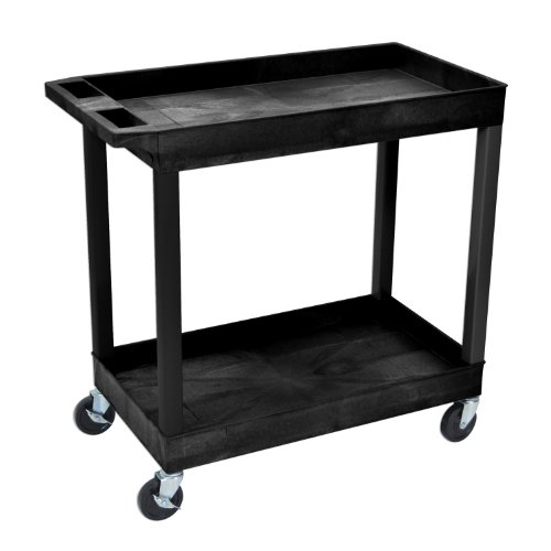 Luxor EC11-B 2 Shelves Multipurpose Storage Plastic Tub Utility Cart - Black