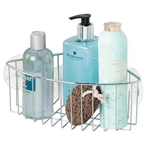 iDesign Rondo Metal Wire Suction Bathroom Shower Caddy Corner Basket for Shampoo, Conditioner, Soap, Creams, Towels, Razors, Loofahs, Stainless ()