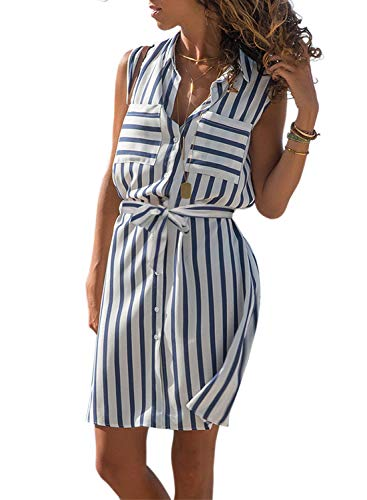 - Asvivid Womens Lapel V-Neck Multicolor Striped Ladies Button Up Pocket Front Work Party Sundress Plus Size 1X Blue