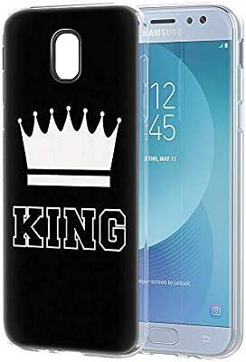 Yoedge Funda Samsung Galaxy J7 2017, Silicona Ultra Slim Cárcasa con King Queen Diseño Patrón Bumper Case Cover Fundas para Samsung Galaxy J7 2017 / J730 Smartphone (King, Negro-Blanco): Amazon.es: Electrónica