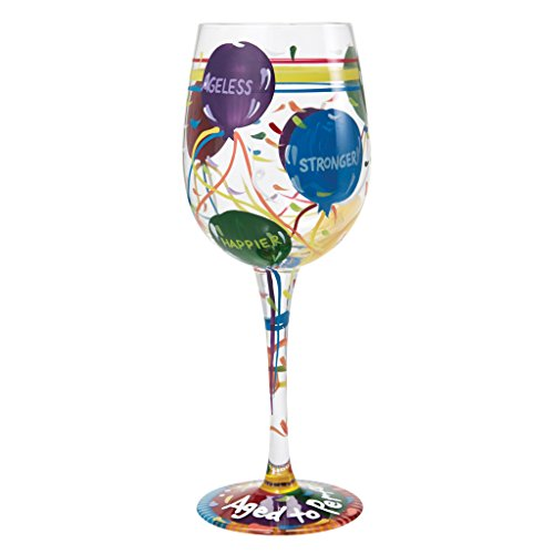 (Lolita Aged to Perfection Birthday Artisan Painted Wine Glass)