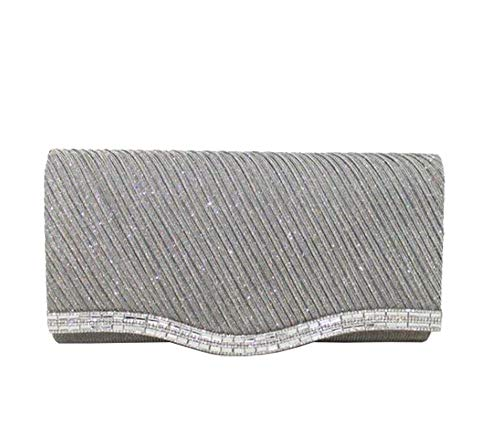 Shimmery Diva Grey Clutch Bag Grey Haute for Diamante Detail pIqwxB85B