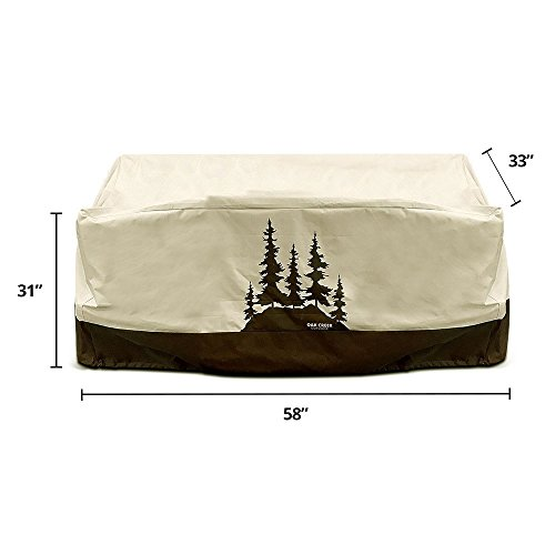 Oak Creek Premium Outdoor Furniture Cover | Patio Loveseat Cover with Air Vents, Click-Close Straps, Elastic Hem Cord | Made of Heavy Duty Waterproof Fabric with PVC Coating | Pine Tree Design by Oak Creek Outdoor Supply (Image #5)