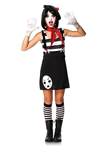 [Leg Avenue Junior's 4 Piece Miss Mime Costume, Black/White, Small/Medium] (Mime For Halloween)