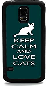 TM Keep Calm and Love Cats Green Color Design Samsung? Galaxy S5 Case Cover (Black Rubber with front Bumper Protection) for Samsung Galaxy S5 i9600