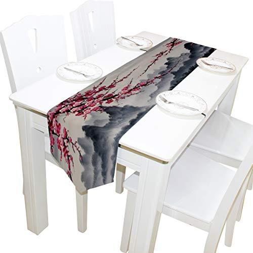 203d5ec01d poeticcity Cherry Blossom Sakura Flowers Double Sided Oblong 13 X 90 inches  Table Runner for Wedding