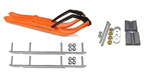 C&A Pro Orange XPT Snowmobile Skis w/ 9'' Shaper Bars Complete Kit Arctic Cat 2012+ Viper 2014+ Except 2016 Procross by Powersports Bundle