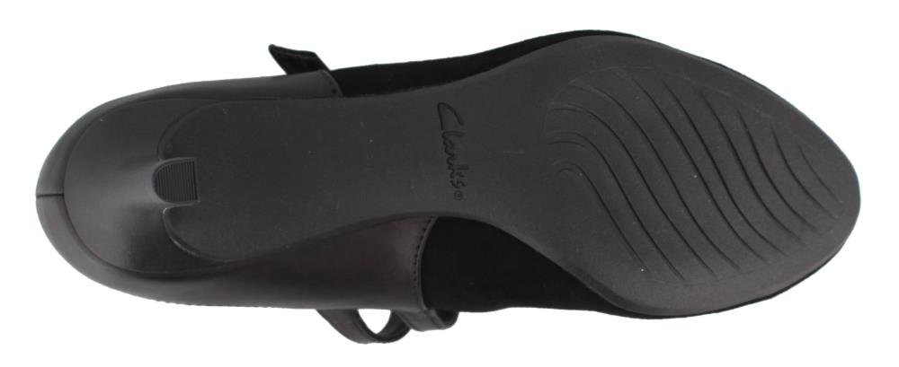 CLARKS Women's Dancer Reece Pump B0796Y1BYV 090 M US|Black Suede/Leather Combi