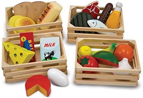 Melissa & Doug Nahrungsmittelgruppen aus Holz (21 Teile) & small Foot 5261 Eisständer aus Holz, Zubehör für Kaufmannsladen und Kinderküche, mit 15 Sorten, ab 3 Jahren