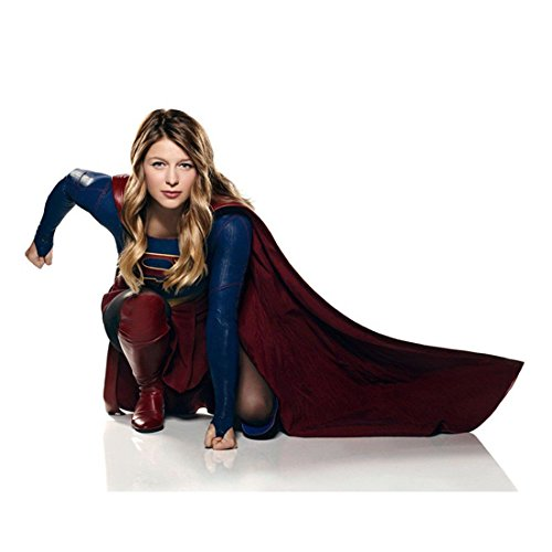Supergirl (TV Series 2015 - ) 8 inch by 10 inch PHOTOGRAPH Melissa Benoist Kneeling White Background kn