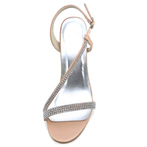 ElegantPark EP11097 Mujer Satén Open Toe Sandalias Rhinestones Cadenas Tacón De Aguja Bombas Zapatos De Fiesta Plateado