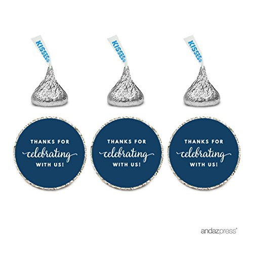 Chocolate Wedding Party Favors - Andaz Press Chocolate Drop Labels Trio, Fits Hershey's Kisses Party Favors, Thanks for Celebrating With Us, Navy Blue, 216-Pack