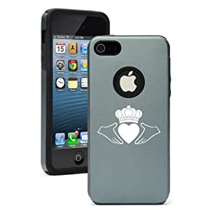 Apple iPhone 4 4s Aluminum & Silicone Case Cover Irish Claddagh (Silver Gray)