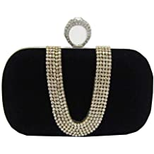 Chicastic Suede Velvet Rhinestone Stud One Ring DÃcor Evening Cocktail Clutch Bag