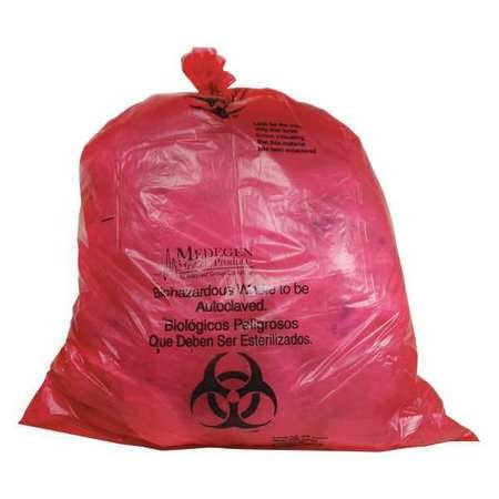 Biohazard Bags, 40 to 55 gal., Red, PK100 by GRAINGER APPROVED