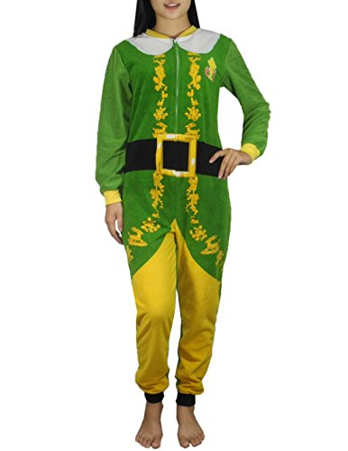 [Womens ELF One-Piece Polar Fleece Romper Jumpsuit L Multicolor] (Elf Outfit For Women)