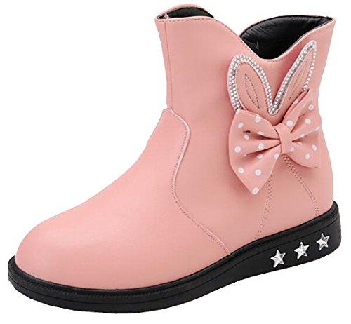 DADAWEN Girl's Toddler/Little Kid/Big Kid Waterproof Side Zipper Cute Fur Lined Mid Calf Winter Snow Boots Pink US Size 2.5 M Little - Pink Snow Boots Winter